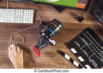 Desktop filmó una cámara moderna de cine