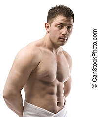 desnudo, macho, torso