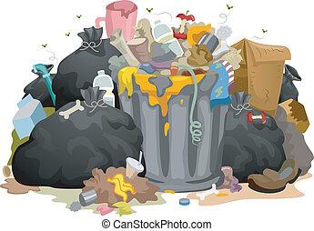 desordenado, bolsas, basura
