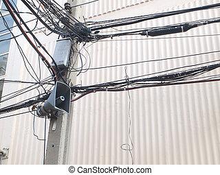 desordenado, eléctrico, cables