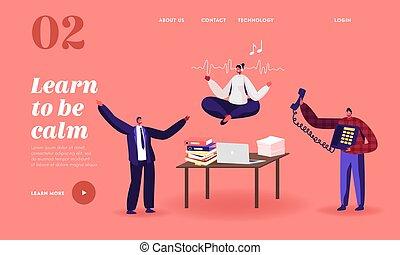 desordenado, encima, aterrizaje, carácter, oficina, empleado femenino, calma, workplace., yoga, página, template., escritorio, interrupción, meditar