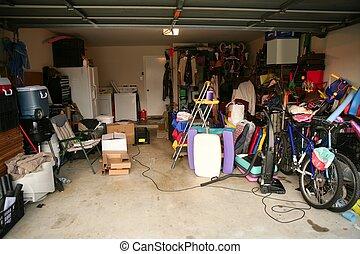 desordenado, garaje, lleno, abandonado, llenar
