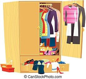 desordenado, guardarropa, ropa