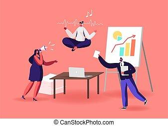 desordenado, lugar de trabajo, carácter, meditación, oficina, relajación, trabajador, mujer de negocios, postura, loto, yoga