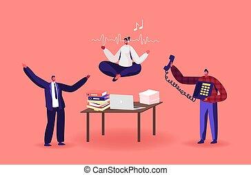 desordenado, relajado, carácter, oficina, empleado femenino, calma, oficina., trabajador, mujer de negocios, workplace., yoga, interrupción, meditar
