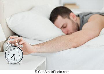 despertado, alarma, hombre, ser, reloj, agotado