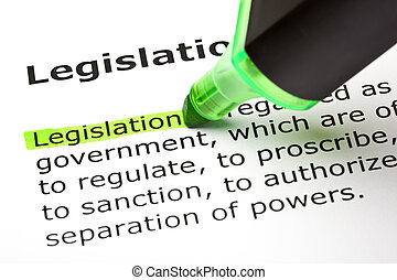 """destacado, """"legislation"""", palabra, verde"""