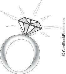 destello, anillo, diamante
