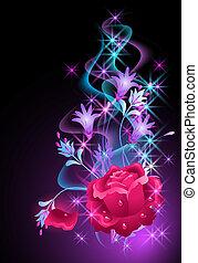 Destello de fondo con humo y rosas