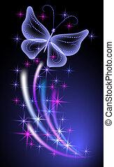 Destello de fondo con mariposas