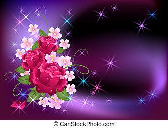 Destello de fondo con rosas