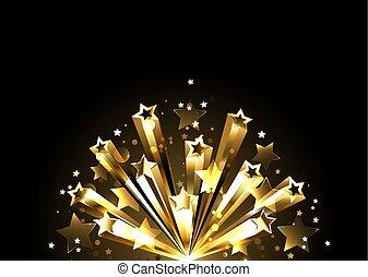 destello, dorado, estrellas