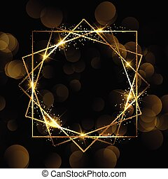 destello, frontera, diseño, 2611, oro