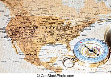 Destino de viaje de los Estados Unidos, mapa antiguo con brújula vintage