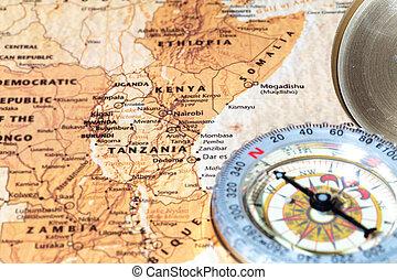 Destino de viaje Tanzania y Kenya, mapa antiguo con brújula vintage