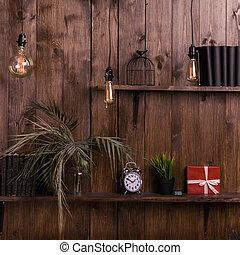 desván, pared, caoba, style., elegante, estantes, de madera