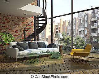 desván, piso, moderno, segundo, parte, interior