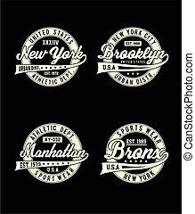 Desvío de etiquetas, diseño de tipografía de Nueva York para la gráfica de camisetas