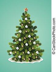 detallado, árbol, navidad
