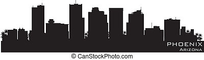 detallado, arizona, silueta, phoenix, vector, skyline.