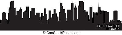 detallado, chicago, illinois, vector, skyline., silueta