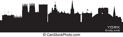 detallado, ciudad, inglaterra, contorno, vector, york, silueta