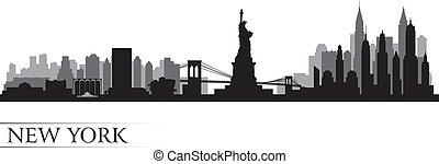 detallado, ciudad, silueta, contorno, york, nuevo