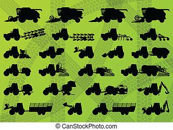 detallado, combina, industrial, camiones, segadores, tractores, ilustración, equipo, siluetas, vector, excavadores, colección, plano de fondo, agricultura, agricultura