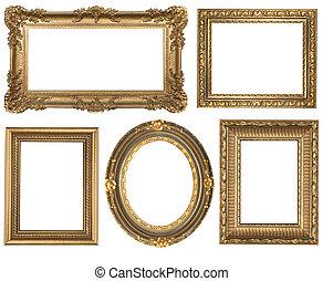 detallado, cuadrado, oro, vendimia, oval, marcos, picure, vacío