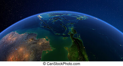 detallado, indonesia, sudeste, asia., tierra, night.