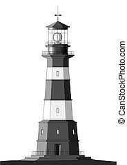 Detallado Lighthouse - aislado en blanco