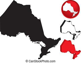 detallado, mapa, canadá, ontario