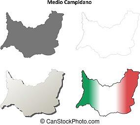 detallado, mapa, conjunto, contorno, medio, campidano, blanco