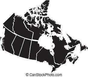 detallado, mapa, territorios, canadiense