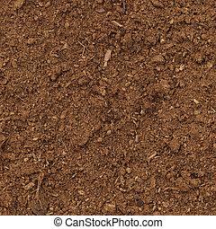 detallado, marrón, orgánico, vertical, macro, turba, humus, patrón, grande, plano de fondo, tierra, césped, primer plano