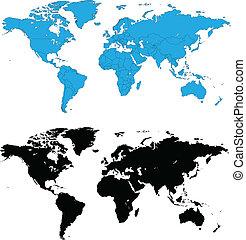 detallado, mundo, vector, mapas