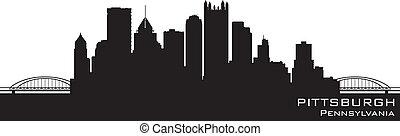 detallado, pittsburgh, silueta, pensilvania, vector, skyline.