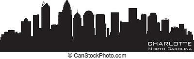 detallado, silueta, vector, norte, skyline., charlotte, carolina