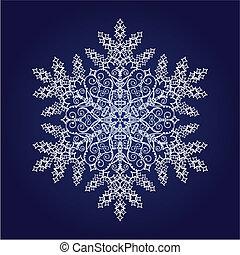 detallado, solo, copo de nieve