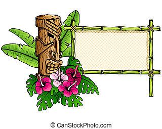 detallado, tiki, bandera, hawaiano
