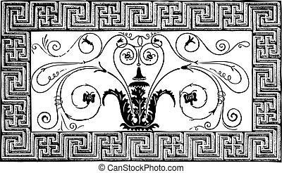 Detalle de un antiguo mosaico romano hecho de un diseño frustrado con volutas, y una frontera con patrones geométricos. Revista Le magasin Pittoresque, París, 1840