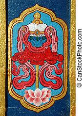 Detalle del monasterio budista, la India