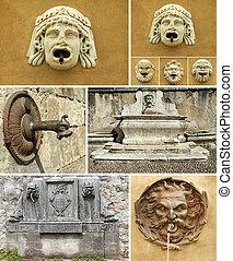 Detalles antiguos de fuentes de collage