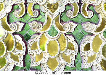 Detalles decorativos de vidrio del templo