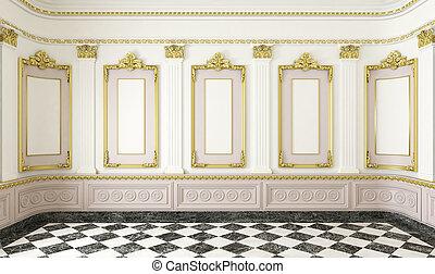 detalles, dorado, estilo, habitación, clásico