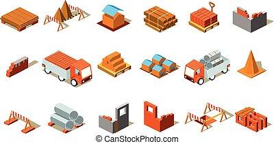 Detalles isométricos de construcción. Coches de carga, barreras de emergencia, materiales para la construcción. Elementos de vectores para la empresa de construcción o sitio web