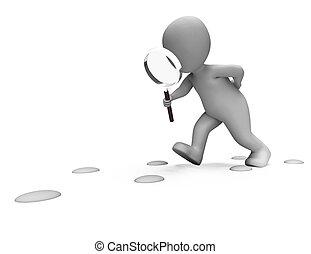 detective, actuación, huellas, carácter, buscando, investigar, investigación, siguiente, o