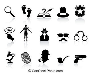detective, conjunto, negro, iconos