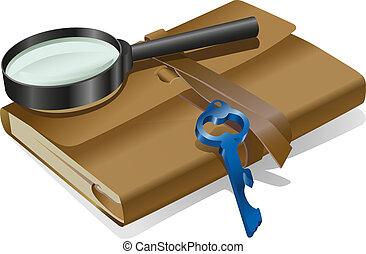 detective, cuaderno, llave