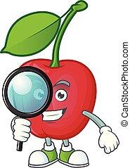 Detective dibujos animados bing cerezas en fondo blanco